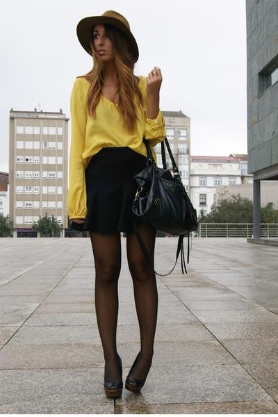 mustard Zara shirt - black Zara skirt