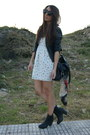 Black-h-m-boots-ivory-floral-bershka-dress-black-zara-jacket