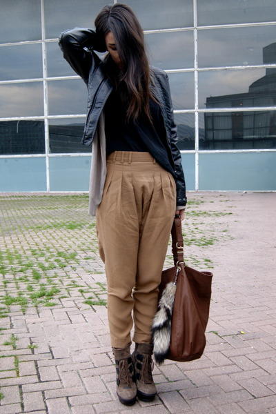 dark brown Aldo boots - black leather Zara jacket - camel Zara pants