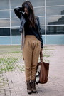 Dark-brown-aldo-boots-black-leather-zara-jacket-camel-zara-pants