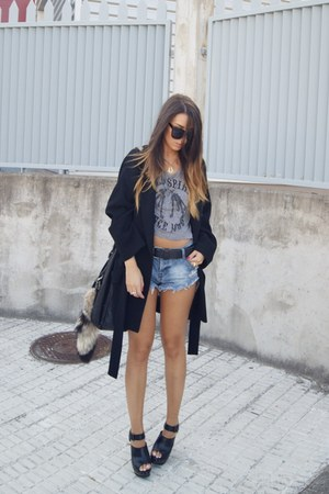 black Zara coat - blue One Teaspoon shorts