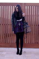 black Zara shoes - black leather Zara jacket - crimson floral vintage skirt