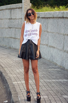 black faux leather OASAP skirt - white High Heels Suicide top