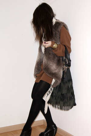 black curve wedges asos boots - ivory McQueen scarf - dark brown faux fur Zara v