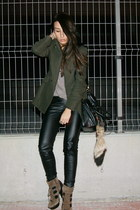 brown Aldo boots - green Mango jacket - black Zara pants