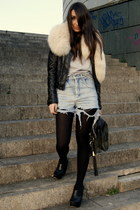 black leather Zara jacket - black curve asos wedges - camel fur collar vintage a
