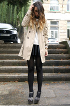 charcoal gray Topshop shoes - camel trench Zara coat - black leather Zara skirt