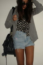 black vintage shirt - blue vintage shorts - silver Zara sweater
