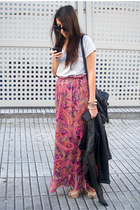 mustard Bershka shoes - hot pink worn as skirt Zara dress - black leather Zara j
