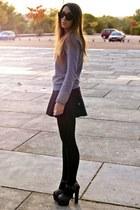 gray Topshop shoes - black Zara skirt - heather gray Zara jumper
