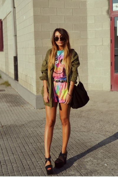 yellow rainbow Sheinside shorts - hot pink High Heels Suicide top
