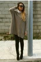 dark khaki Zara jumper - black Fox House shoes