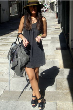 gray No-idea dress - black Zara shoes - brown Indiana Jones hat