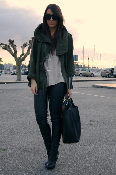 efad1842cf black asos boots - green parka Zara coat - black Zara bag - gold Zara t