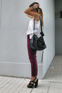 Black-office-shoes-crimson-zara-pants-ivory-zara-top