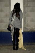 black diy Zara shoes - yellow leather Str jacket - charcoal gray New Yorker swea