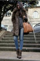 light brown Aldo boots - dark brown faux fur Zara coat - heather gray H&M sweate