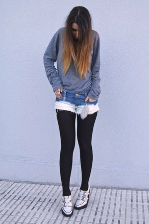 navy DIY shorts - white creppers Topshop shoes