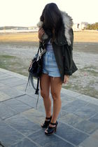 green Zara coat - blue vintage shorts - silver H&M t-shirt - black Zara shoes