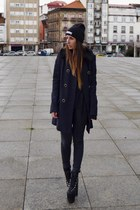 navy asos coat - black High Heels Suicide hat
