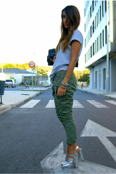 olive green baggy Zara pants - silver platforms Topshop shoes