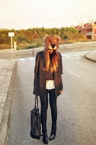 black astro asos boots - dark brown asos hat - black leather asos pants