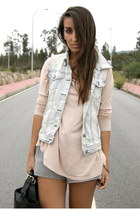 light pink Zara shirt - black leather Zara bag - heather gray sweatpants Zara sh