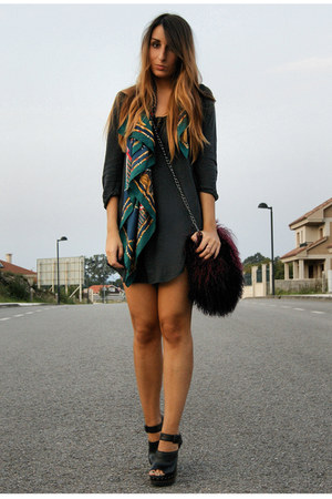 crimson furry Zara bag - black clogs Zara shoes - gray Zara dress