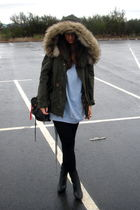 green Zara coat - black Primark tights - blue Zara sweater - black Zara boots