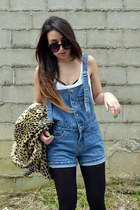 mustard leopard asos coat - blue dungarees Sheinside shorts