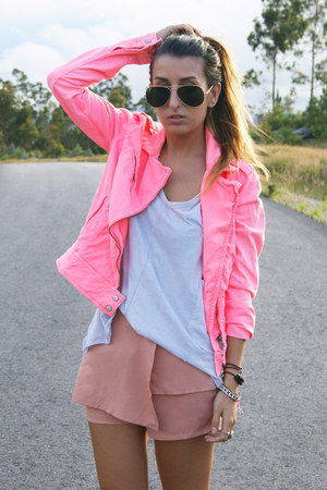 bubble gum romwe shorts - hot pink Zara jacket