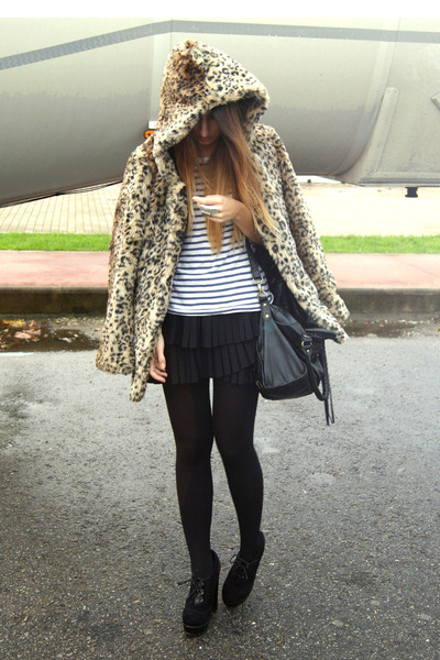 camel Bershka coat - black Fox House boots - black Zara skirt