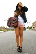black clogs Zara shoes - black leather Zara jacket - brick red satchel vintage b