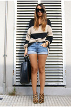 mustard leopard Zara shoes - black leather Zara shorts - brown striped Bershka j