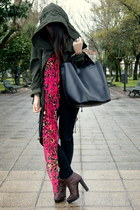 dark brown Zara boots - forest green parka Zara coat - hot pink neon leopard Zar