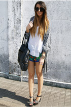 blue Topshop shorts - gray Pixie cardigan