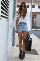 black H&M boots - ivory Zara shirt - black Zara bag