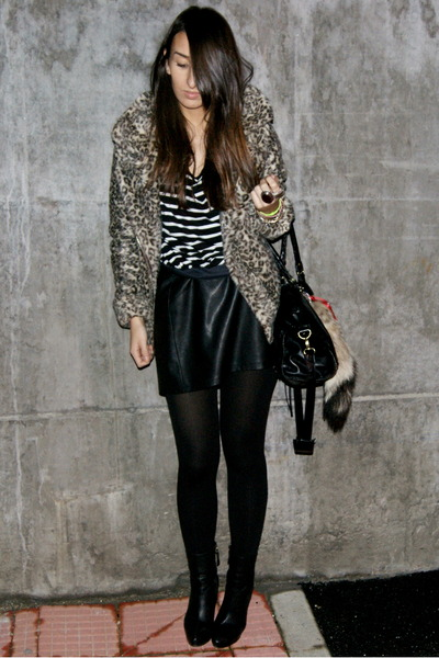 bronze Zara coat - black vintage skirt