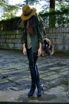 dark green parka Zara coat - black leather H&M leggings - dark brown faux fur Za