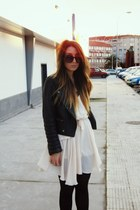 ivory romwe dress - black leather Zara jacket