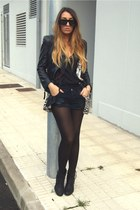 black Tamaris boots - black leather Zara jacket - black One Teaspoon shorts