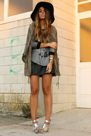 silver Topshop shoes - army green parka Zara coat - black floppy BLANCO hat