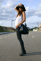 black H&M boots - black Zara jeans - black floppy BLANCO hat - white Zara top