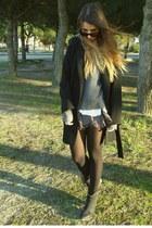 black Zara coat - amethyst free people shorts