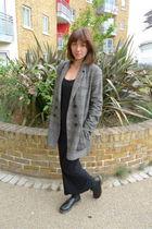 black asos skirt - black lbdcouk top - black Dr Martens shoes - gray whistles co