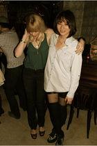 black shorts - blue shirt - black boots