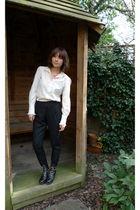 white Zara shirt - black Silence & Noise pants - black Opening Ceremony boots