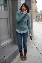 blue Urban Outfitters cardigan - blue acne jeans - brown etsy vintage boots