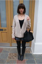 beige Topshop cardigan - blue APC shorts - black longchamp accessories