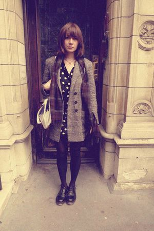 gray whistles coat - black Topshop pants - black doc martens shoes